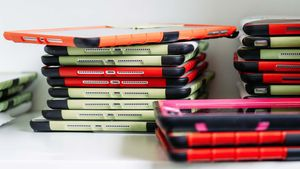 stack of iPads used for education