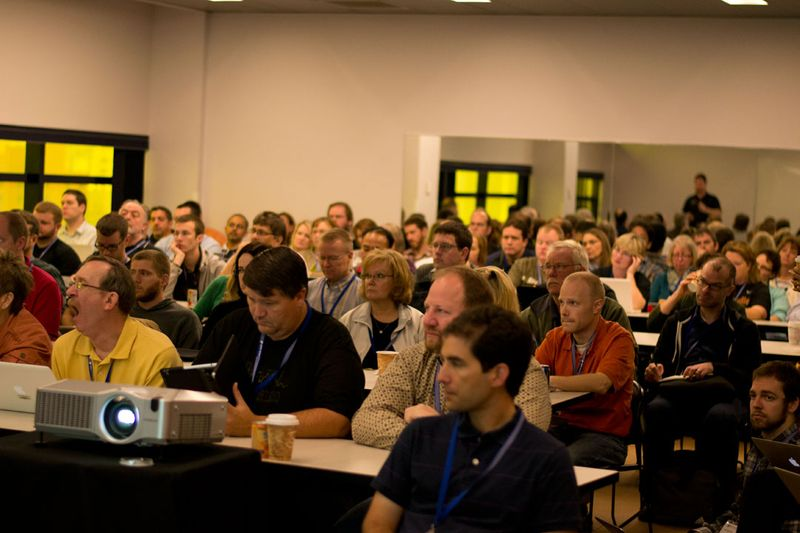 The audience at JNUC listens carefully to a session about Jamf Pro.