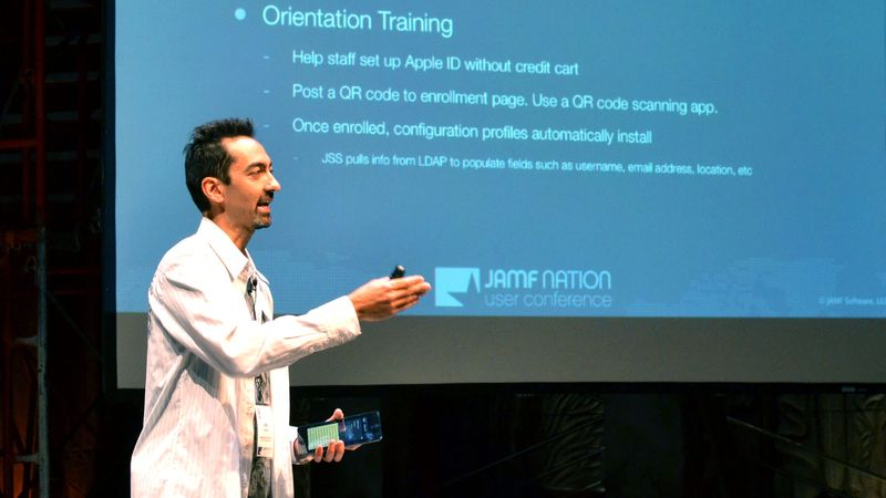 Joe Yamada explains how to get smart with your iPad deployments, at the JAMF Nation User Conference