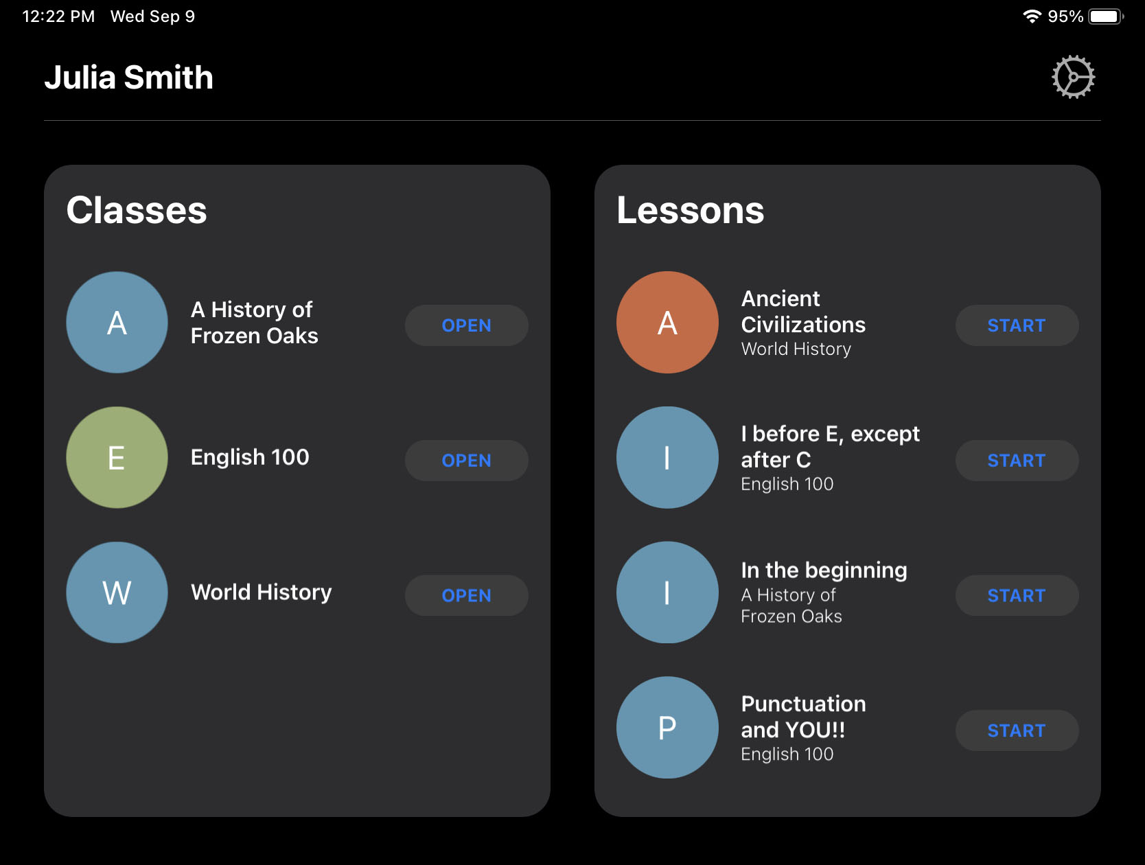 The intuitive Jamf Pro Teacher app's dashboard with Classes and Lessons columns.