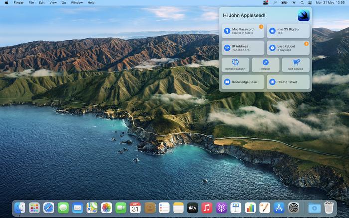 Mac desktop displaying Support App