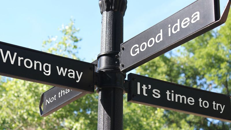 Sign post with conceptual phrases indicating right or wrong paths to take