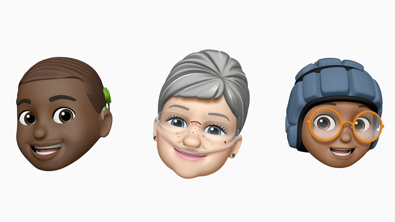 New Apple Memoji from left to right: A dark brown Memoji with short hair, wearing a cochlear implant; a pale Memoji with gray hair in a bun using an oxygen tube; a brown Memoji wearing glasses and a soft helmet.