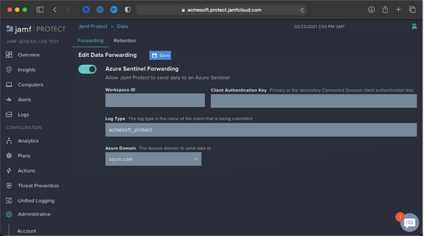 Screen of Jamf Protect with toggle key for Azure Sentinel forwarding.