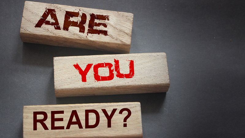 Are you ready? spelled out in wooden blocks
