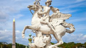 Sculpture of Mercury riding Pegasus