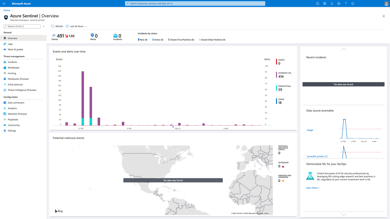 Azure sentinel overview screen with Jamf Protect data