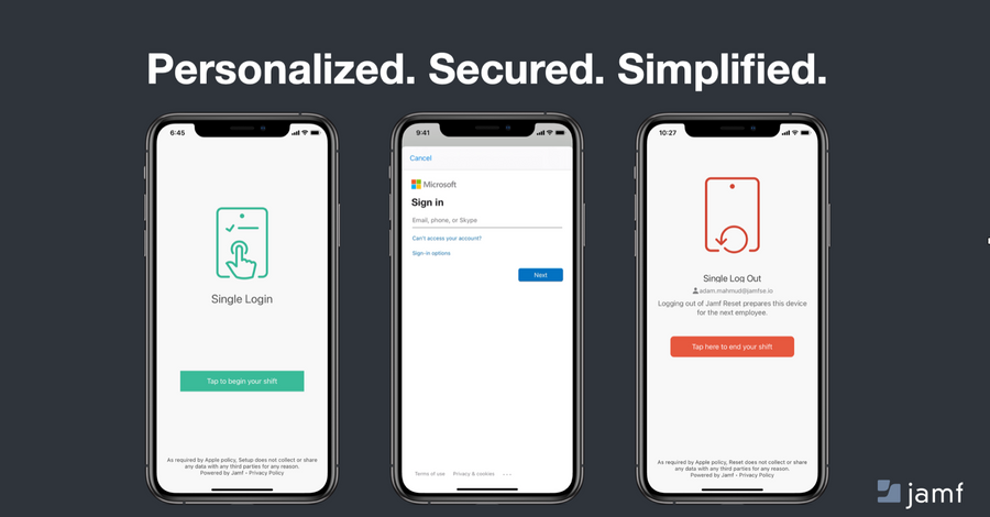 Three iPhone screens showing three steps to Single Login Workflow