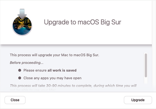 Jamf Pro screenshot of popup: Upgrade to MacOS Big Sur with close and upgrade buttons.