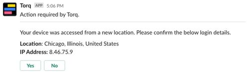 Screenshot of alert message from Torq to Slack.