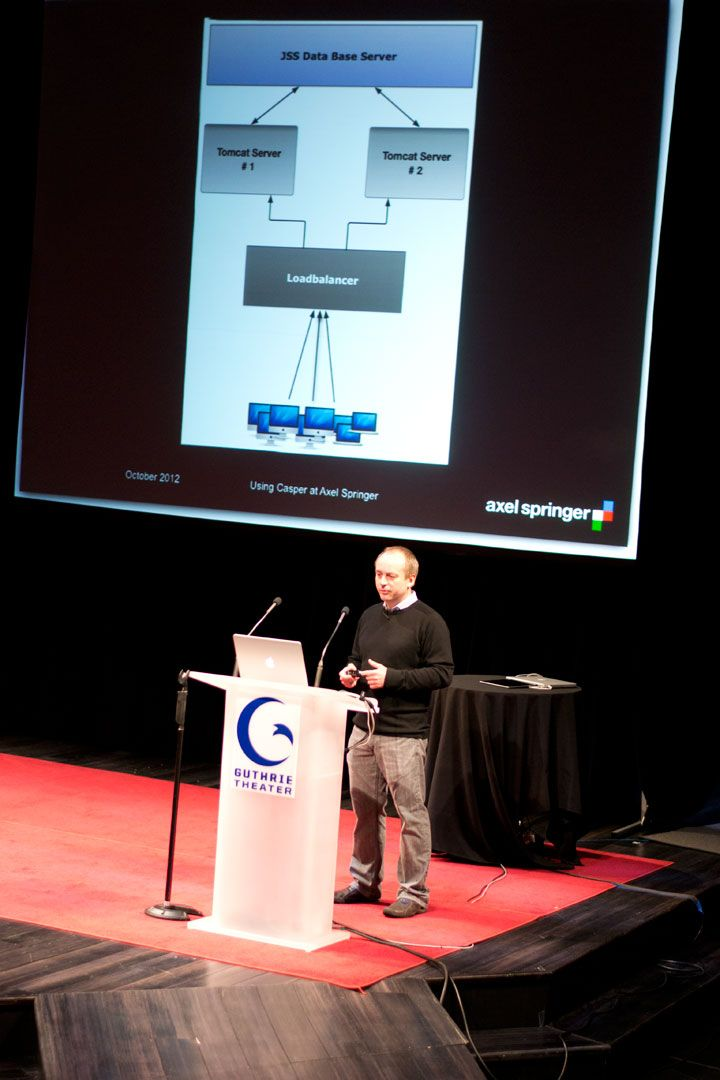 Jens Ahrens from Axel Springer discussed implementation of Jamf Pro from the JNUC podium.