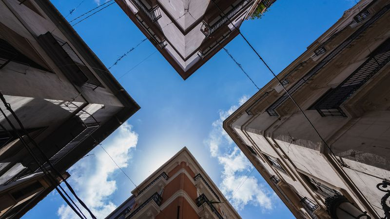 Intersection of four buildings, creating an