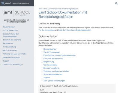 Jamf School Dokumentation mit Bereitstellungsleitfaden