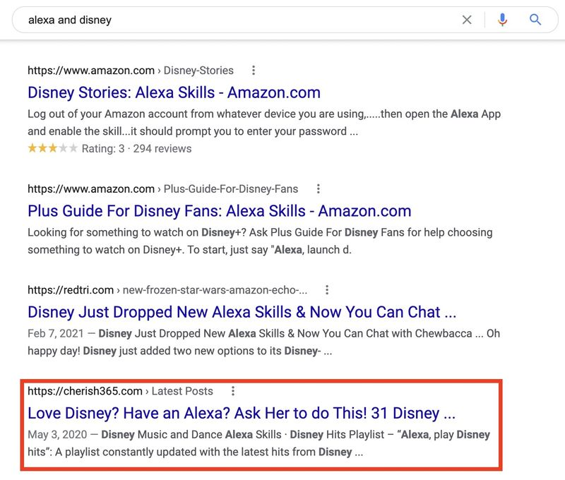 """Screenshot of Google results when searching """"alexa and disney"""" taken by Jamf on April 12, 2021."""