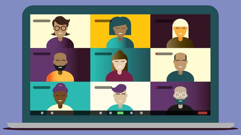 illustration of many people on a laptop screen
